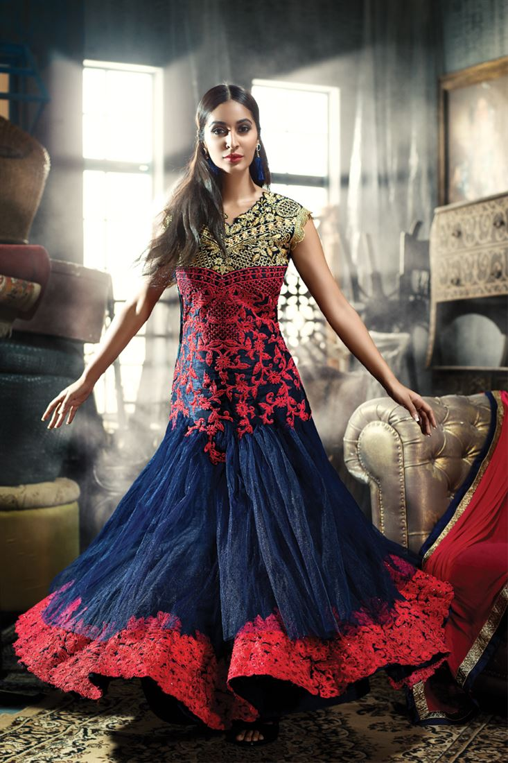 BLUE INDO -WESTERN GOWN WITH RED GOLDEN EMBROIDERY