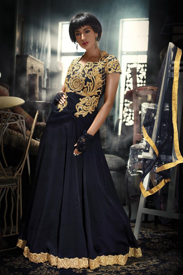 CUTWORK STYLE GOLDEN EMBROIDED YOKE IN BLACK COLOR