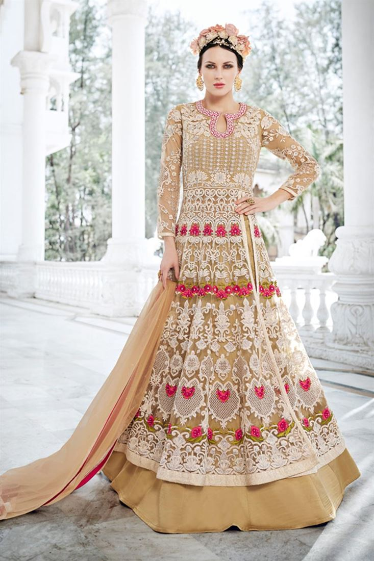 Designer Beige Color Net Festive Wear Salwar Suit
