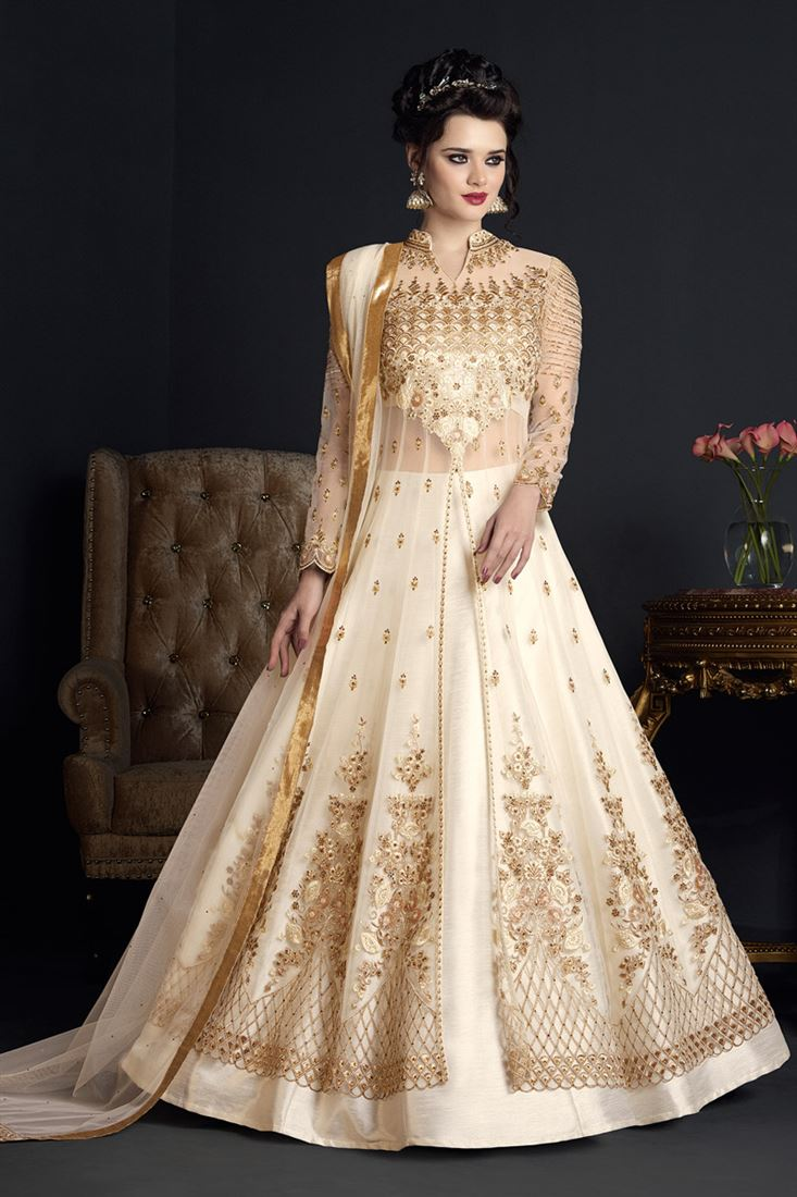 Designer Cream Color Net Festive Wear Salwar Suit