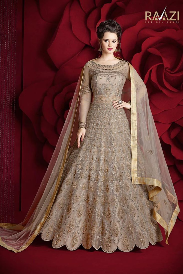 Designer Fancy Net Beige Color Sawar Kameez