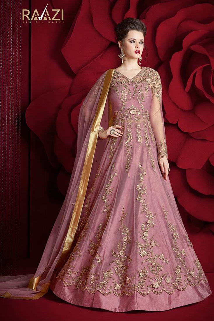 Designer Fancy Net Pink Color Sawar Kameez