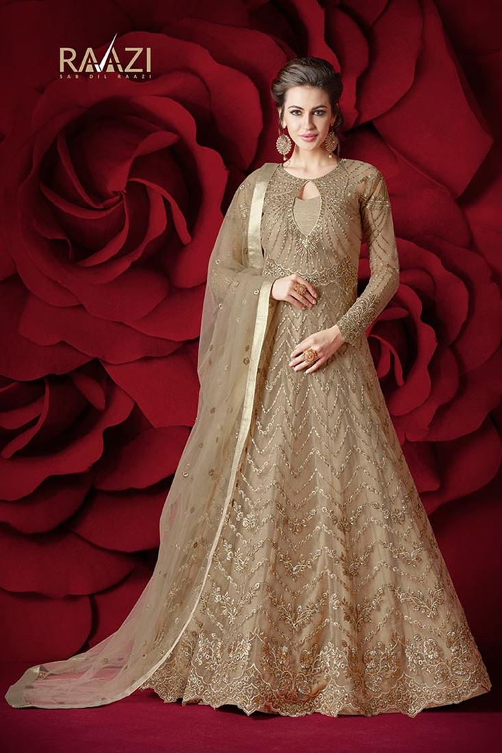Designer Net Stylish Beige Color Sawar Kameez