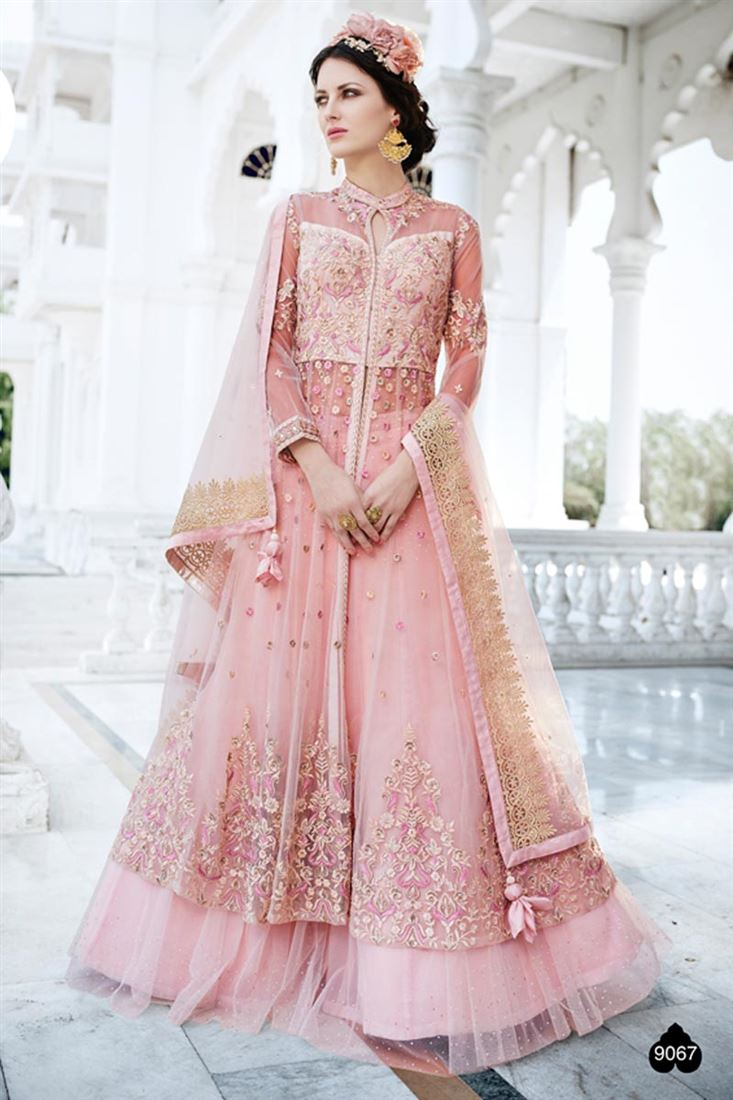 Designer Pink Color Net Festive Wear Salwar Suit