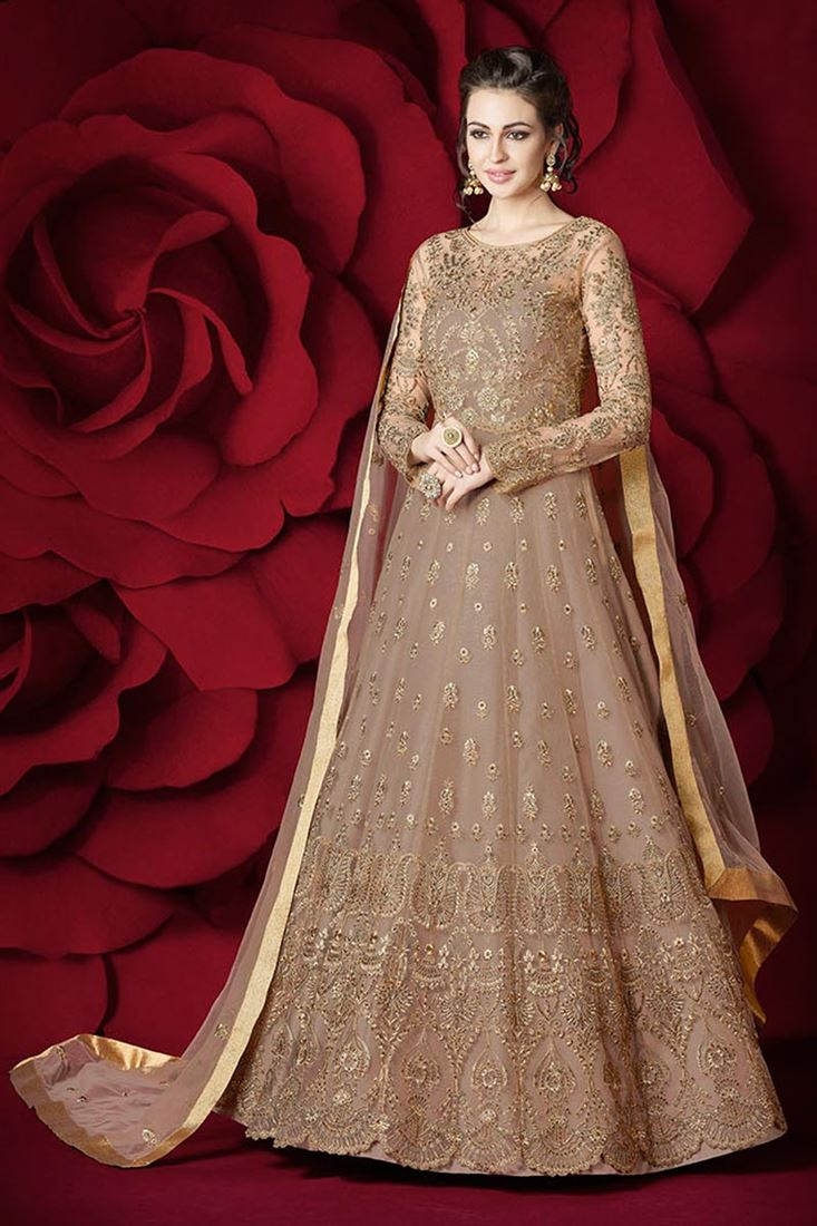 Designer Stylish Net Beige Color Sawar Kameez