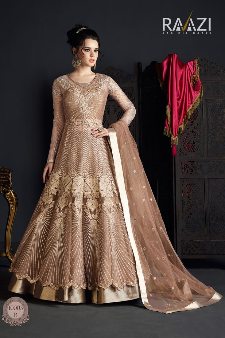 Fancy Work Brown Color Party Wear Net Salwar Suit