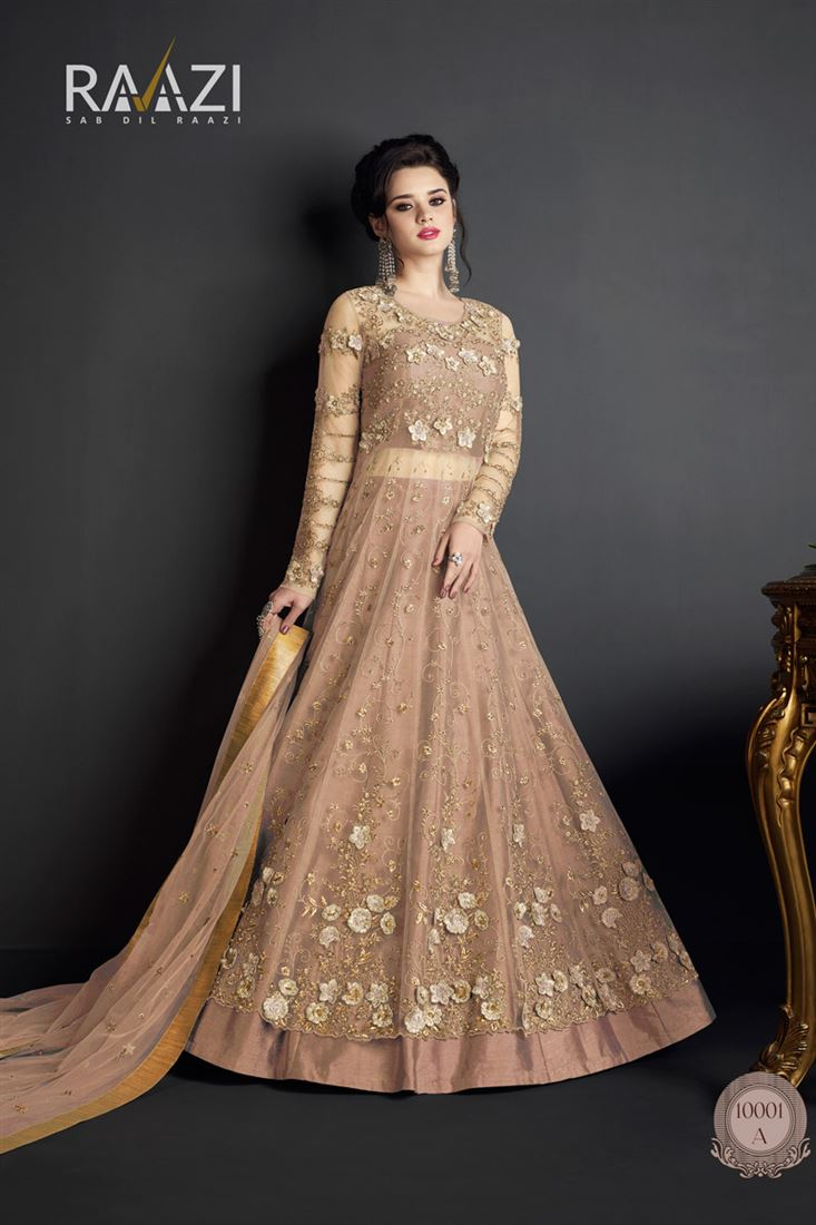 Fancy Work Peach Color Party Wear Net Salwar Suit