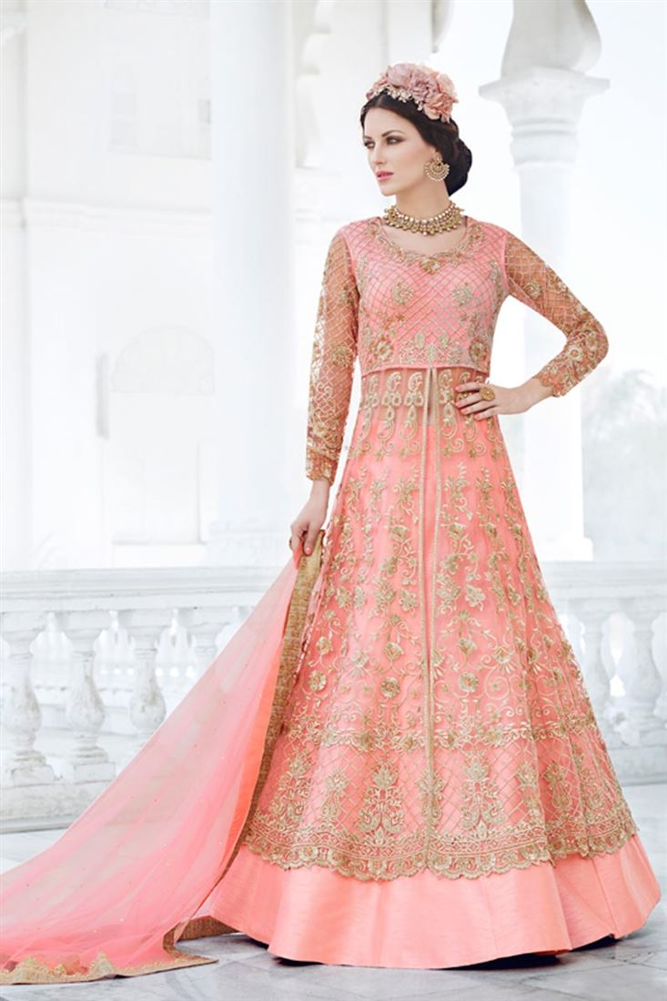 Fancy Work Pink Color Party Wear Net Salwar Kameez