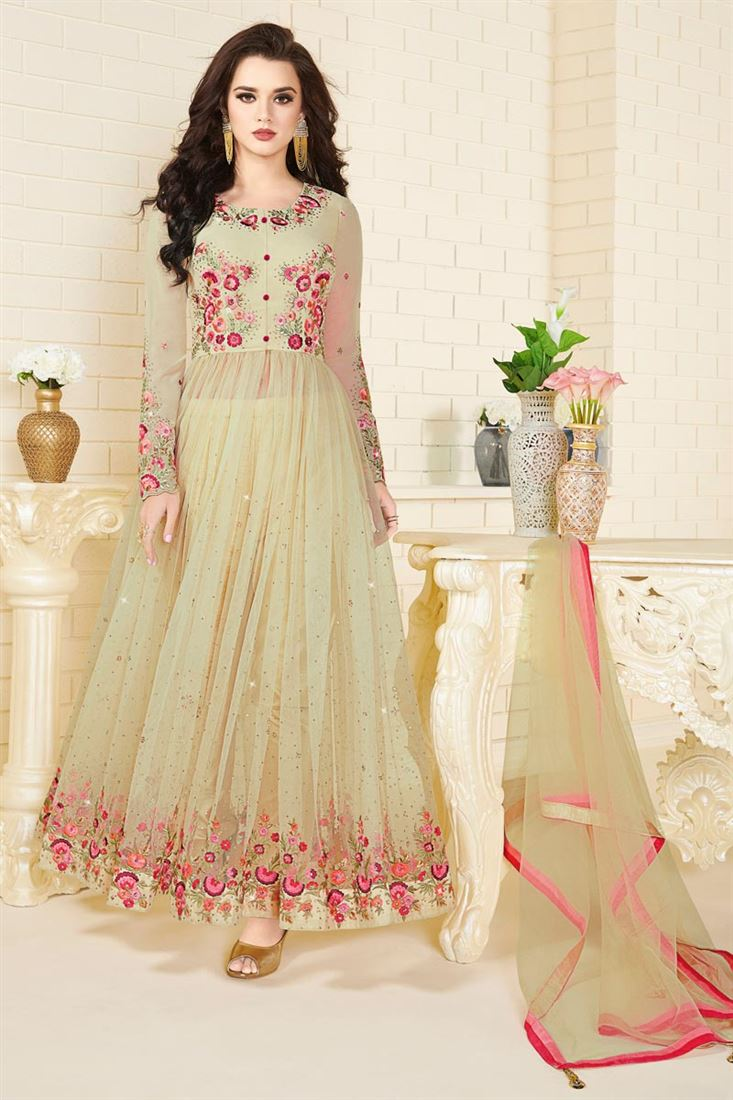 Festive Wear Cream Color Georgette And Net Dress
