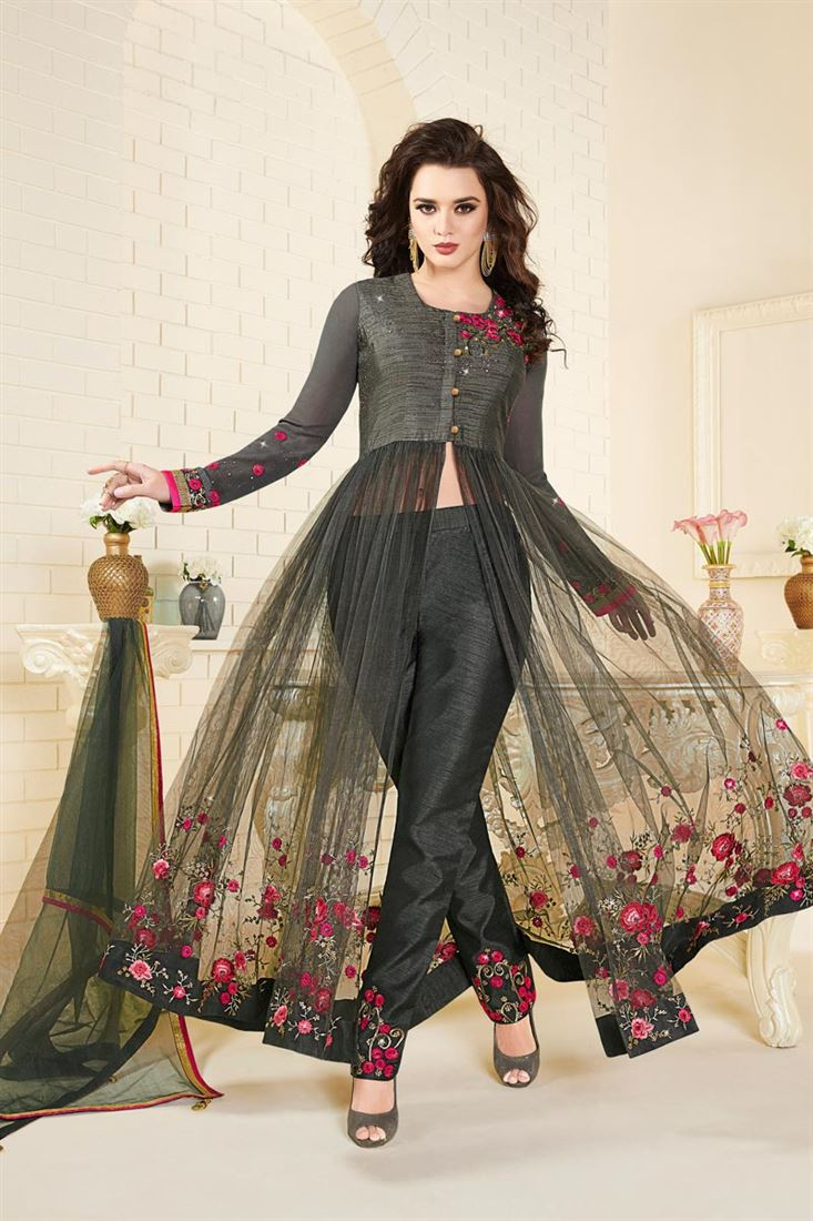 Grey Color Silk And Net Occasion Wear Salwar Suit