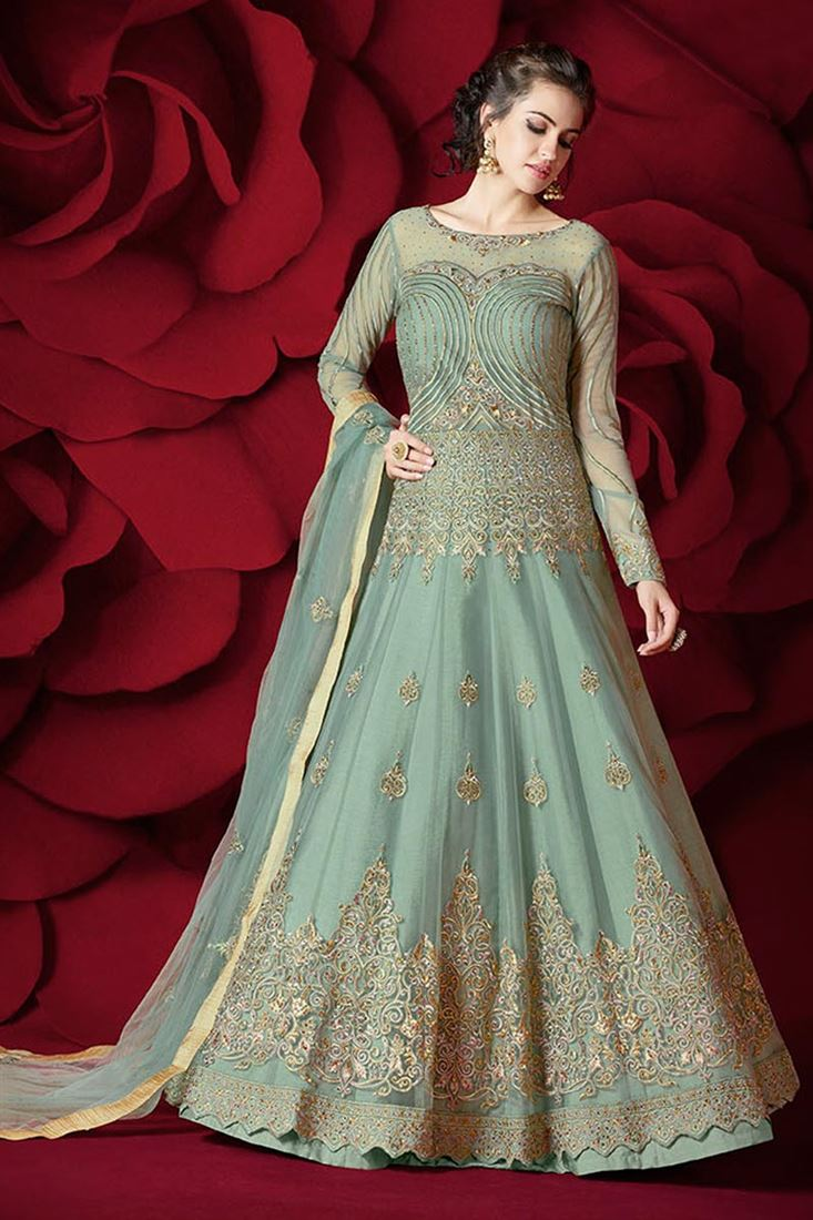 Net Fabric Cyan Color Wedding Wear Sawar Kameez