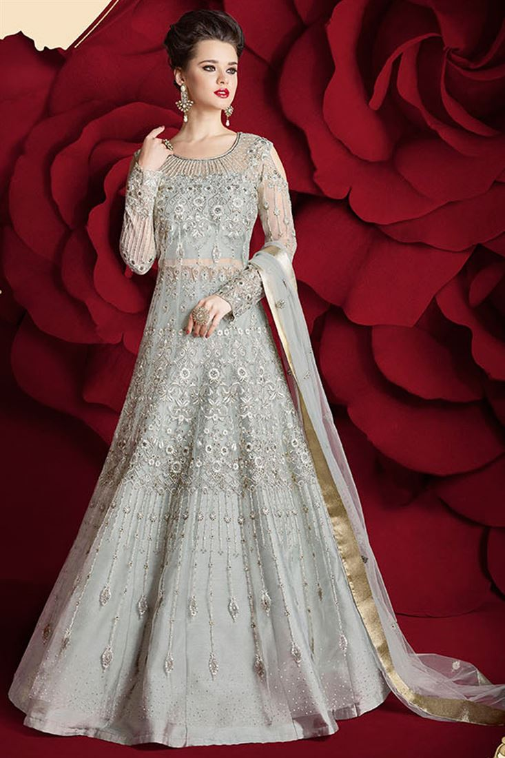 Net Fabric Grey Color Festive Wear Sawar Kameez