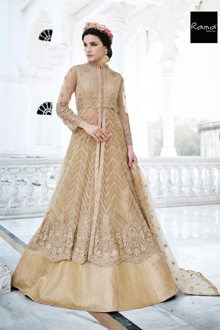 Occasion Wear Beige Color Designer Net Salwar Suit