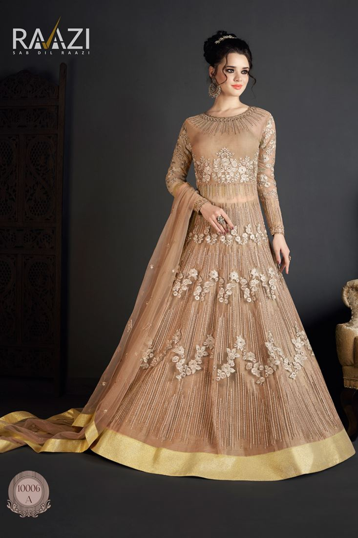 Occasion Wear Brown Color Designer Net Salwar Suit
