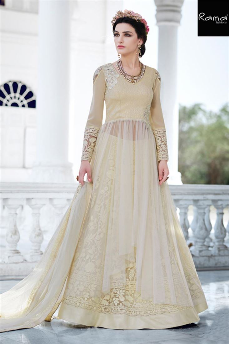 Occasion Wear Cream Color Designer Net Salwar Suit