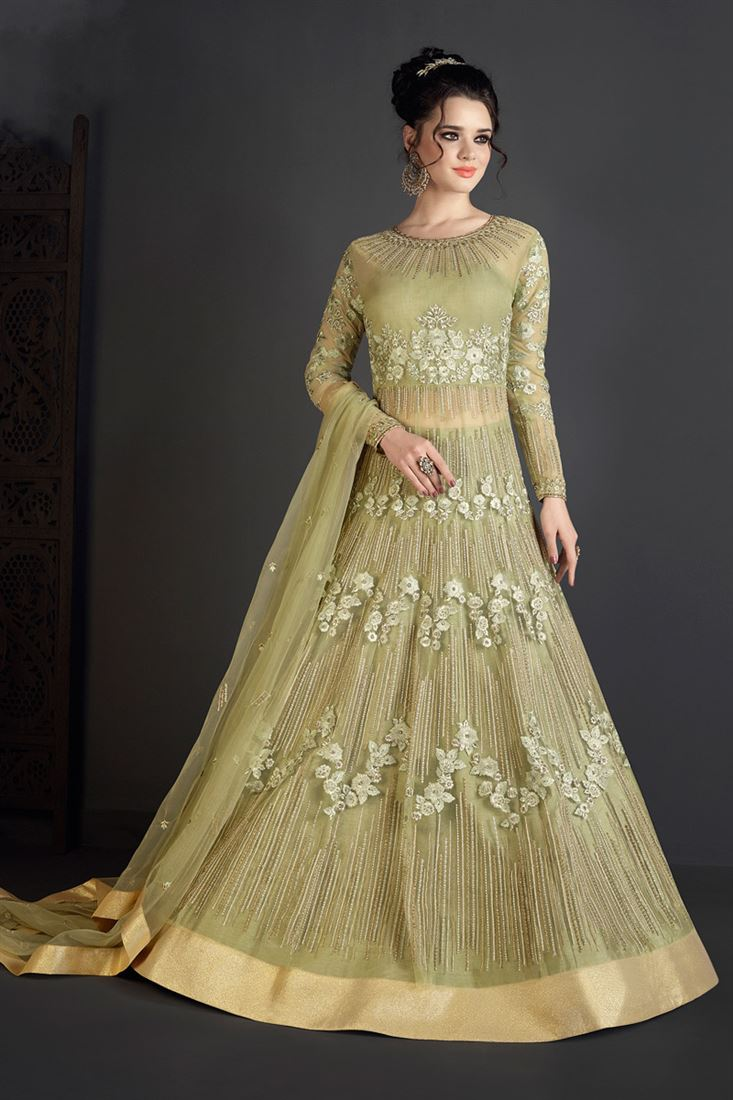 Occasion Wear Green Color Designer Net Salwar Suit