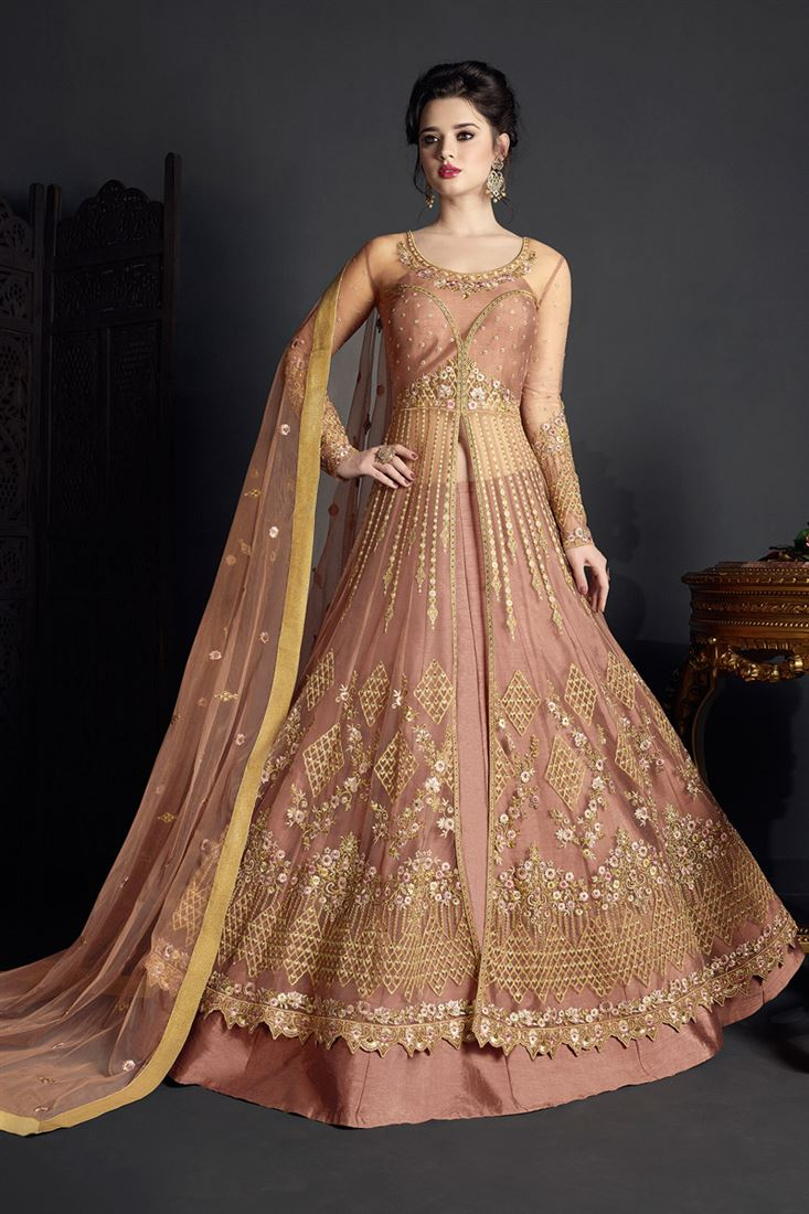 Occasion Wear Peach Color Designer Net Salwar Suit