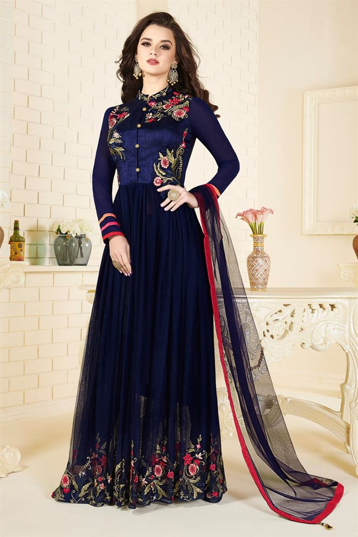 Party Wear Blue Color Designer Silk And Net Salwar