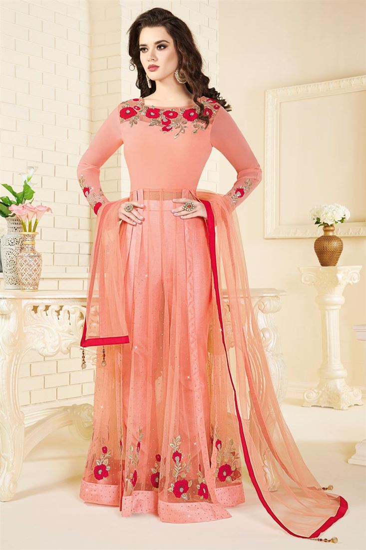 Pink Color Function Wear Georgette And Net Salwar
