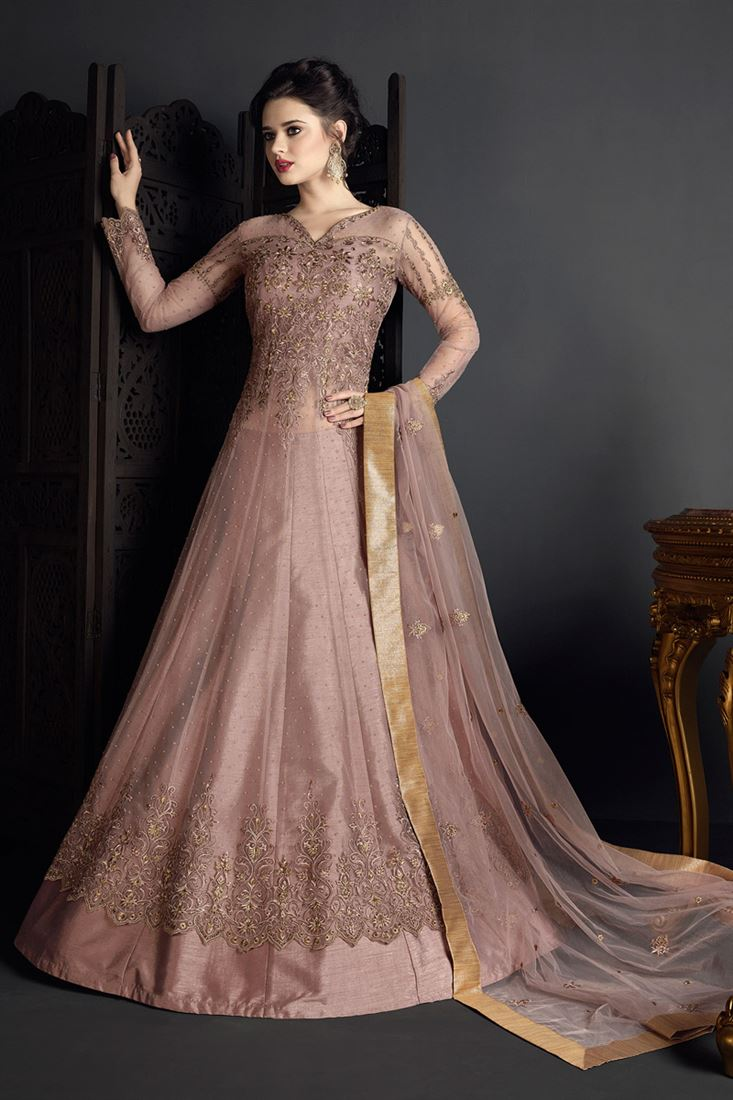 Pink Color Net Fabric Party Wear Salwar Kameez