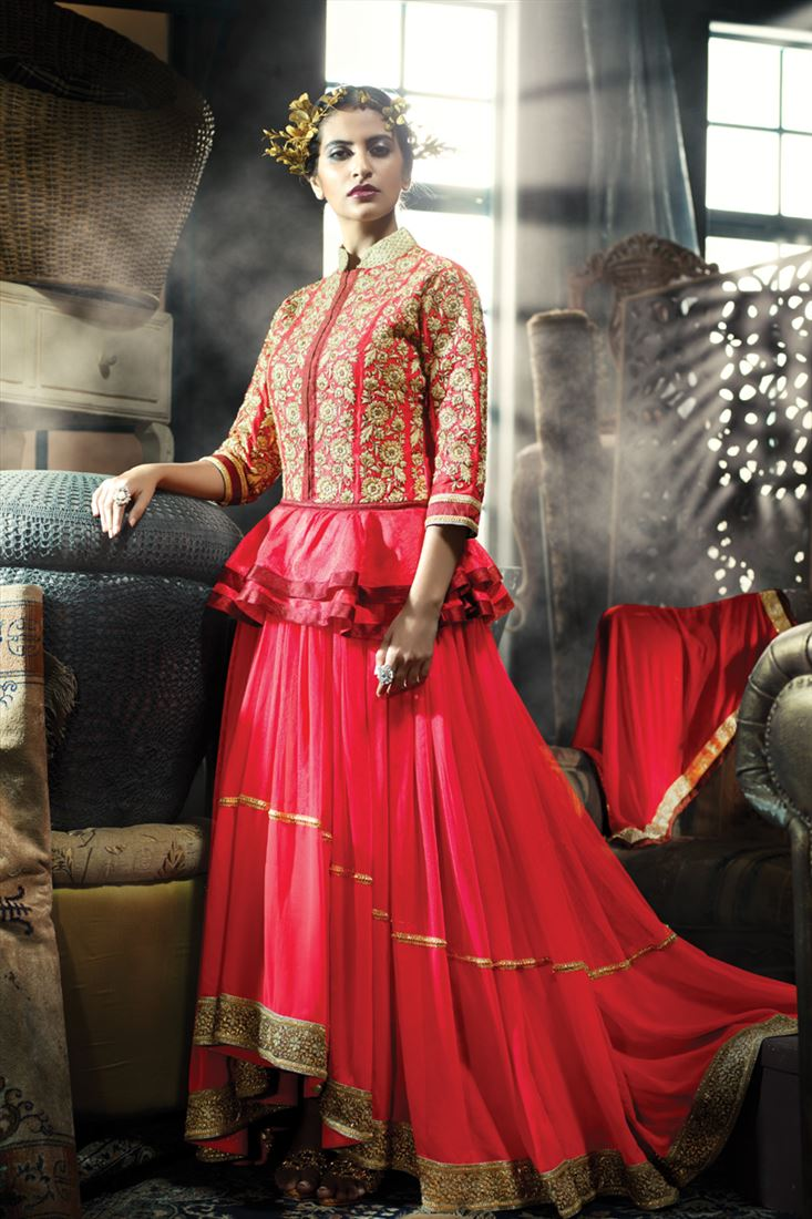 RED PAPLON STYLE INDO-WESTERN GOWN