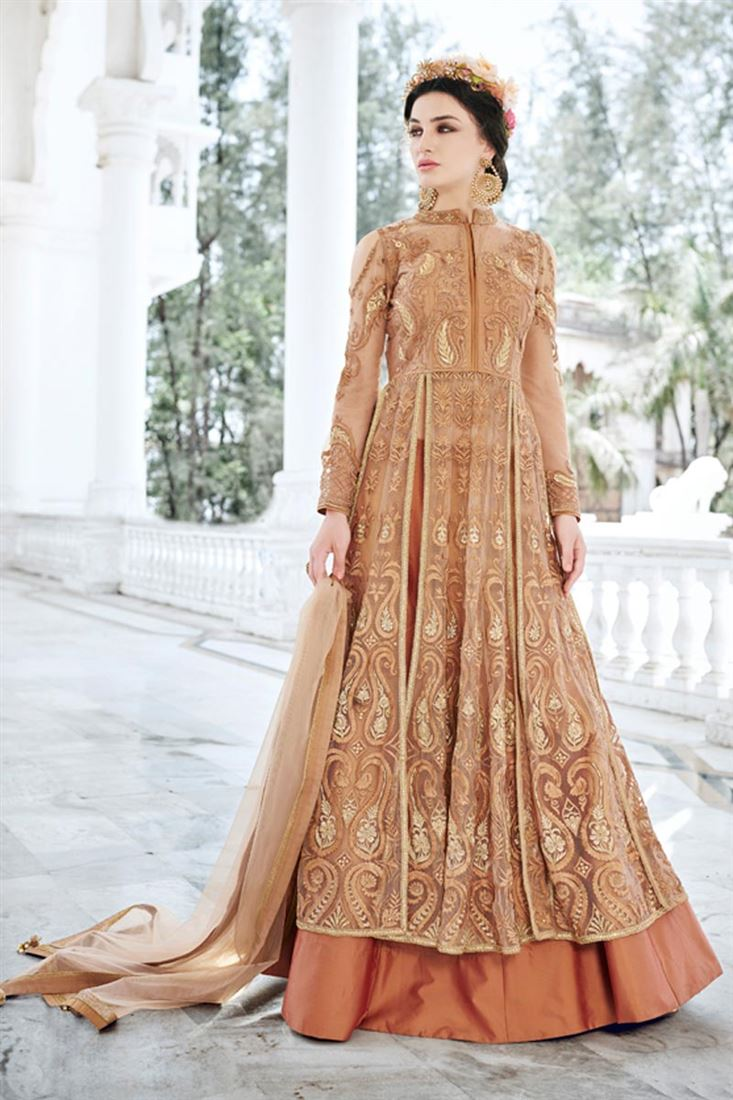 Rust Color Net Fabric Party Wear Salwar Suit